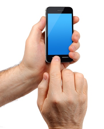 Male hands holding modern touchscreen smartphone, isolated on white background photo