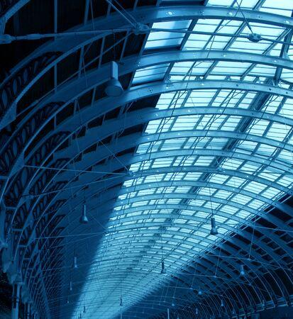 Steel structure of roof indoor hallway corridor construction Stock Photo - 13244336