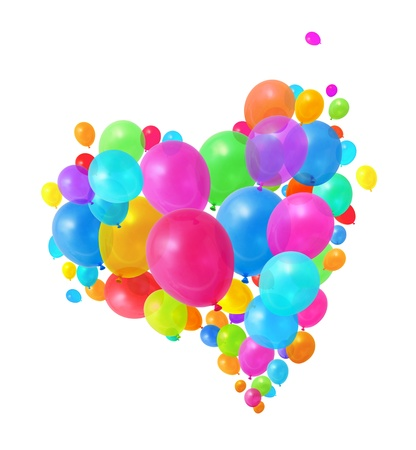 Colorful  balloons flying heart shape formation white background