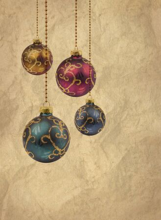 Retro color Christmas balls printed on old grunge paper background Stock Photo - 13794283