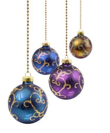 Four retro color Christmas balls hanging on white background isolated Stock Photo - 13794280
