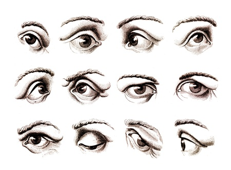 open eye: Old engravings of human eye expressing various emotions