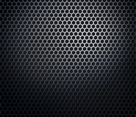 Hexaconal metal perforated honeycomb grill black background photo