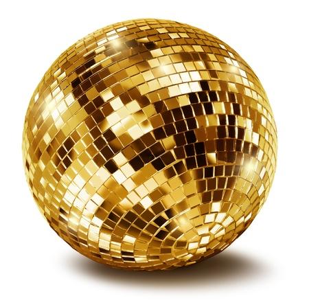 mirror ball: Bola de espejo del disco de oro sobre fondo blanco