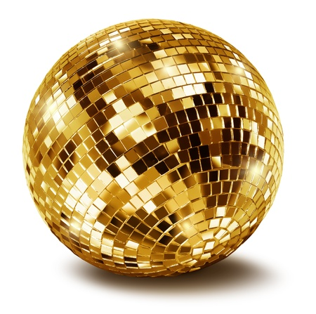 Golden disco mirror ball isolated on white background photo
