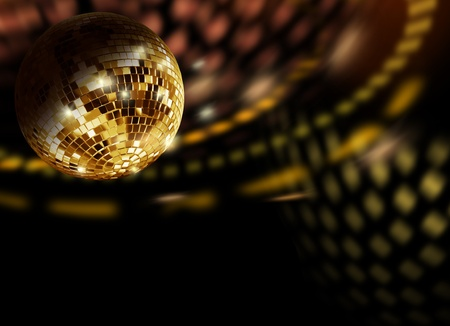 Golden mirror ball reflections moving on discotheque wall photo