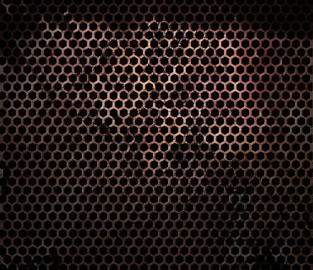 Rusty hexagonal metal perforated grunge grille Stock Photo - 13995086