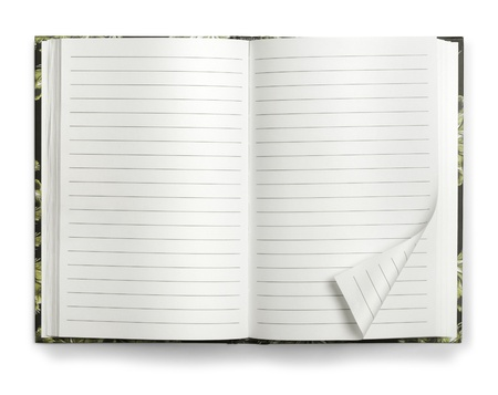 Blank open paper notebook memo isolated on white background Stock Photo - 14176848