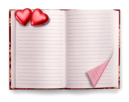 Open Valentine pink blank diary isolated on white background photo