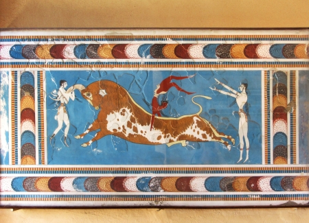 Minoan mural fresco bull fighter ceremony Knossos palace Crete Greece Editorial