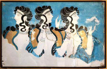 minoan: Minoan ladies mural wall painting fresco Knossos Crete Greece