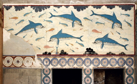 Minoan dolphins fresco Knossos Palace Queens room Crete Greece
