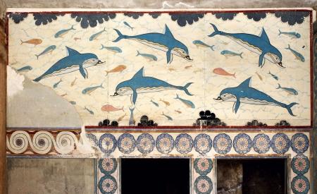 kreta: Minoische Palast von Knossos Delfine Fresko Queens Zimmer auf Kreta Griechenland