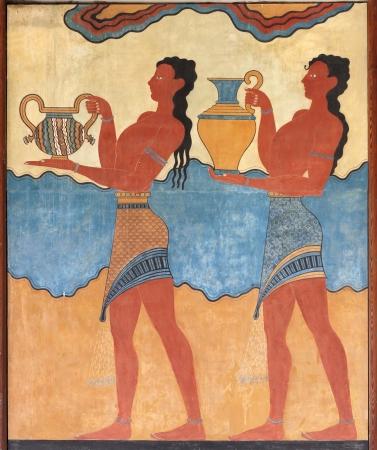 minoan: Minoan figures mural wall painting fresco Knossos Crete Greece