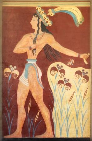 Minoan warrior mural wall painting fresco Knossos Crete Greece