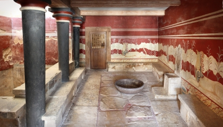 Inside view of Throne Hall in Minoan age Knossos palace Crete Greece