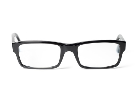 Classic black eye glasses front, isolated on white background Archivio Fotografico