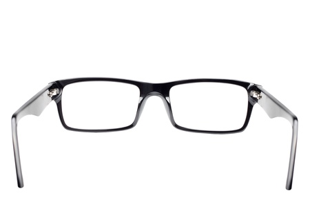 Classic black frame eye glasses seen from back view
