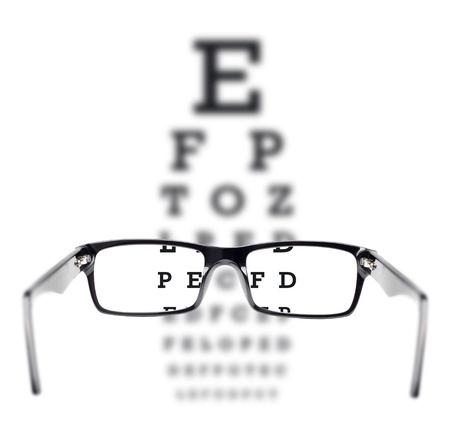 Sight test seen through eye glasses, white background isolated photo