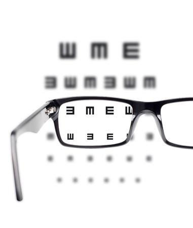 Sight test seen through eye glasses, white background isolated Standard-Bild