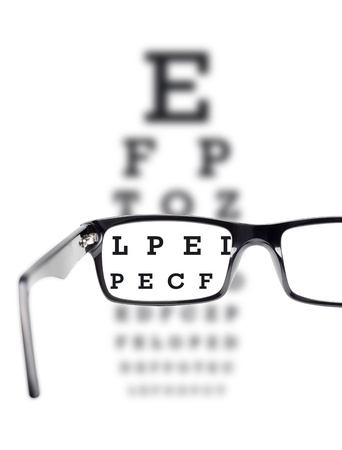 Sight test seen through eye glasses, white background isolated photo