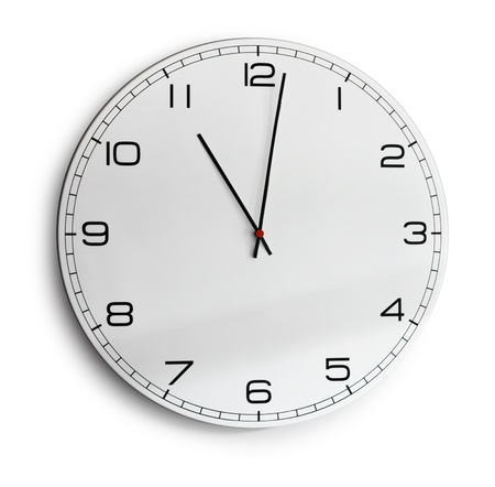 Modern wall clock isolated on white, soft drop shadow photo
