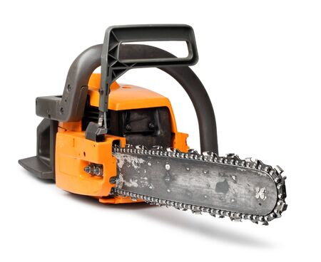 chainsaw: Rough big orange chain saw front view isolated on white
