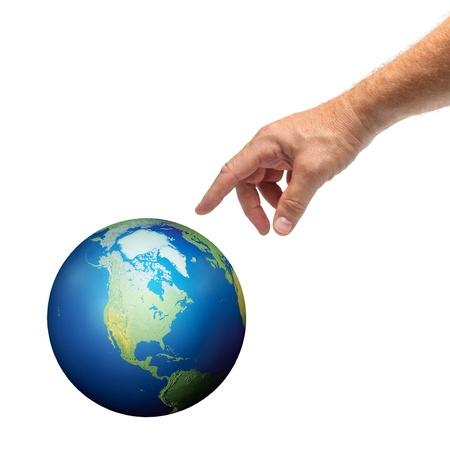 mano de dios: Mano masculina alcanza a tocar el planeta Tierra, aislada en blanco