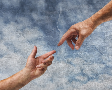 god hand: Two hands God and Adam reaching old painting style background