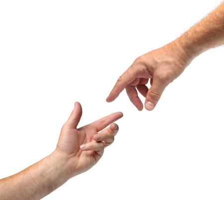 mano de dios: Dos manos que alcanzan hacia cada otro fondo blanco aislado Foto de archivo
