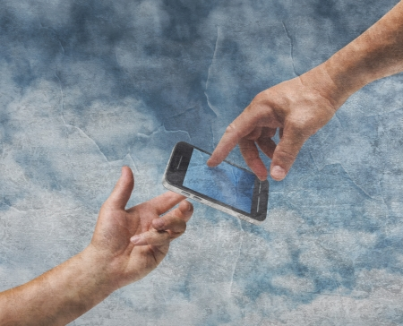 Two hands God and Adam reaching mobile phone old painting style