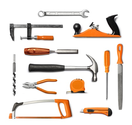 hand tool: Mechanic hand tools kit, black and orange, isolated on white background Stock Photo