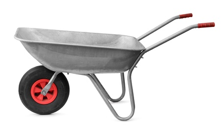 Garden metal wheelbarrow cart isolated on white photo