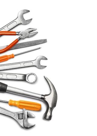 mechanic tools: Mechanic tools set isolated on white background Stock Photo