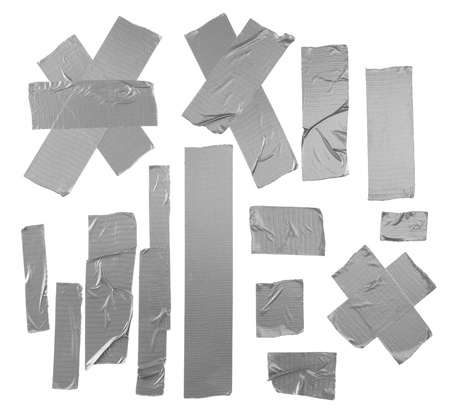 adhesive: Duct repair tape silver patterns kit isolated Stock Photo
