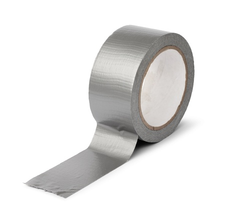sticky: Duct tape roll silver repair reel isolated