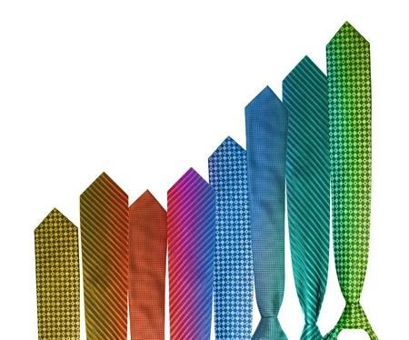 Gráfica colorida corbata de negocios mostrando un crecimiento
