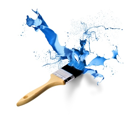 paint drop: Brush painting splashing dripping blue paint on white background