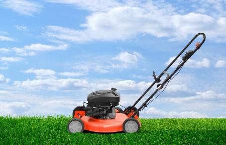 gras maaien: Grasmaaier motor clipper werkt op groen zomer gras