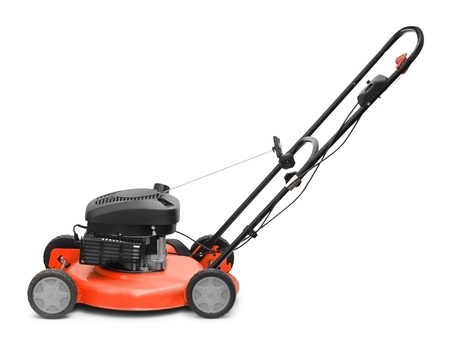 mower: Lawn mower motor grass clipper isolated on white Stock Photo