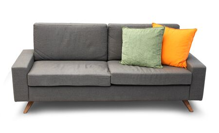 Comfortable couch isolated with color sofa pillows photo