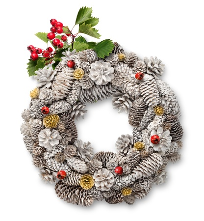 White Christmas door wreath decoration with cones, hawthorn branch and berries