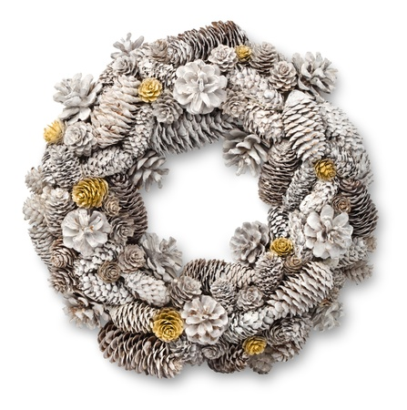 White Christmas door wreath decoration made of pine and fir cones Stock Photo