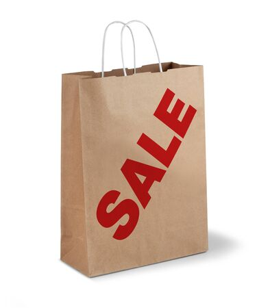 Brown shopping paper bag red sale text isolated Stock Photo - 17470439