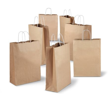 Seven shopping paper bags of the week isolated on white background Stock Photo - 17470463