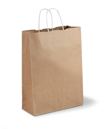 Brown shopping paper bag isolated on white background Stock Photo - 17470452