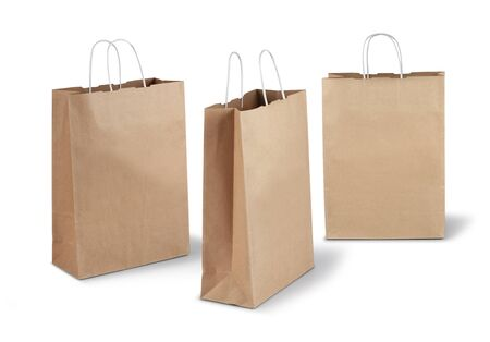 Three brown shopping paper bags isolated on white background Stock Photo - 17470442