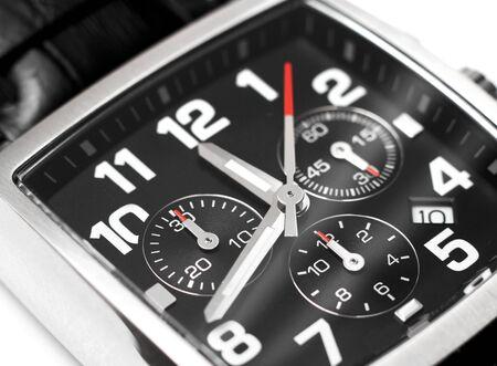 cronografo: Modern acero reloj de pulsera cron�grafo primer tiempo concepto Foto de archivo
