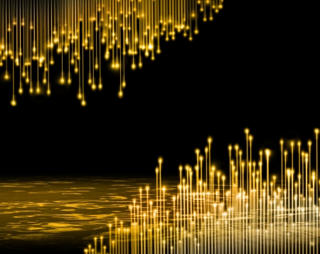 stage background: Golden light fibres premier stage background Stock Photo