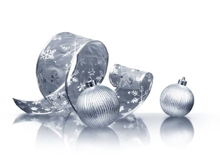 silver balls: Curled silver ribbon and Christmas balls on white background